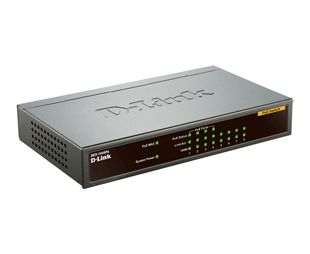 DES-1008PA 8‑Port Fast Ethernet PoE Unmanaged Desktop Switch